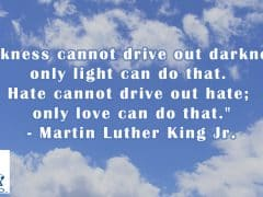 """""""Darkness cannot drive out darkness; only light can do that. Hate cannot drive out hate; only love can do that."""" - Martin Luther King Jr."""